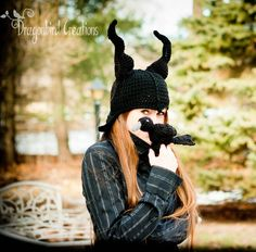 worsted weight yarn Crochet: Raven and Evil Lady Horn Hat cool craft project for a fancy hat for any fairytale evil queen, woodland gothic goddess or dark and grimm elf love this fantasy fashion to keep you cosy and warm Crochet Halloween Costume, Crochet Costumes, Halloween Crochet Patterns, Crochet Beanie, Crochet Yarn, Free Crochet, Crochet 101, Crochet Crafts, Crochet Projects