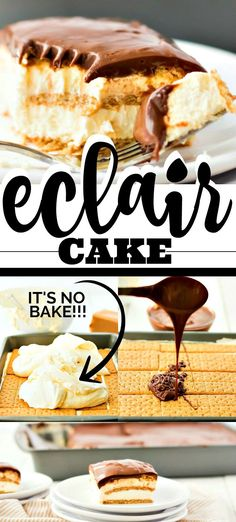This easy eclair cake recipe tastes just like an éclair, only it's much easie., Desserts, This easy eclair cake recipe tastes just like an éclair, only it's much easier to make. My favorite part is you don't even have to use the oven. No Bake Eclair Cake, Eclair Cake Recipes, Easy Cake Recipes, Sweet Recipes, Dessert Recipes, Recipes Dinner, Easy Dessert Bars, Chocolate Eclair Cake, Food Cakes