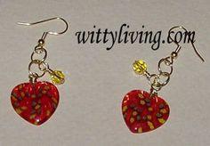 beaded heart earrings millefiori