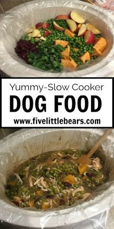 Slow Cooker Dog Food - Healthy And Cheap Option For Your Dog | Five Little Bears Food Dog, Make Dog Food, Homemade Dog Food, Puppy Food, Dog Treat Recipes, Healthy Dog Treats, Dog Food Recipes, Healthy Recipes, Doggie Treats