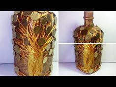 Декор бутылок денежное дерево своими руками. Декупаж декорирование украшение бутылки. Мастер класс - YouTube