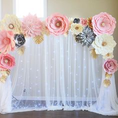 """Simple but gorgeous. We use couple different backdrop stands. This one is compact, easy to transport, easy to install and lightweight. Perfect for small occasions and arch style backdrops. Could be found on Amazon. Simply search for: """"backdrop stand"""". Ours is about $30. Cons: not sturdy enough, do not recommend to use outdoor. #seattlebackdrop #backdropstand #paperflowersbackdrop #diybackdrops #diypaperflowers #seattlegiantflowersbackdrops"""