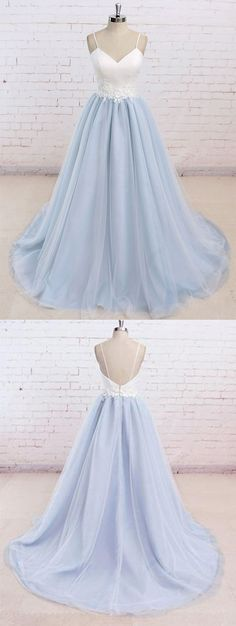 Simple Spaghetti Straps Light Blue A line Long Evening Prom Dresses Long Prom Dress Prom Dress Simple Prom Dress Light Blue Prom Dress Blue Evening Dresses Prom Dresses 2019 Baby Blue Prom Dresses, Senior Prom Dresses, Straps Prom Dresses, Cute Prom Dresses, Tulle Prom Dress, Trendy Dresses, Dance Dresses, Formal Dresses, Long Dresses