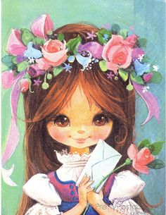I used to have a set of these pictures in my bedroom when I was little.  vintage Big Eye art cutie