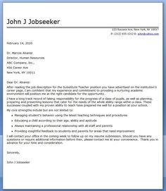 Delightful Substitute Teacher Cover Letter Examples