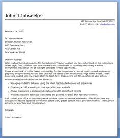 sample letter of recommendation for substitute teacher