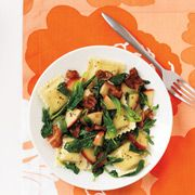 Ravioli with Apples, Bacon, and Spinach
