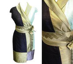 Kimono Wickelkleid Sashiko Style oliv black mint