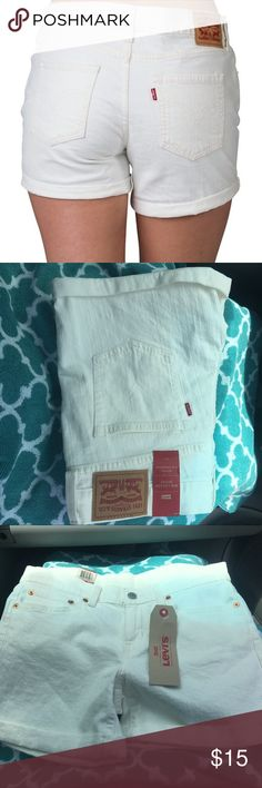 Mid length Levi's shorts Brand new. Mid length, mid rise, slim through out hip! Size 27! Ask any question Levi's Shorts Jean Shorts