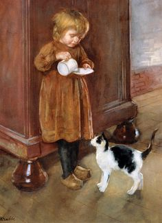A Girl With Her Cat Reading To Little Sister The New Doll A Saucer Milk For The Cat
