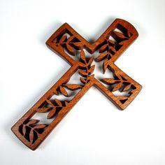 Cross / Leaf Design / Mahogany Wood / Wall by ScrolLynneWoodArt
