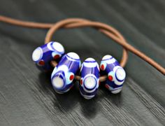 Royal Blue Handmade Glass Bead Set for Jewelry by blancheandguy, $22.00