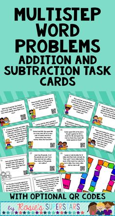 Multistep Addition and Subtraction Word Problem Task Cards with QR Codes 3rd Grade Math, Second Grade, Math Class, Fourth Grade, Word Problems 3rd Grade, Teaching Addition, Math Problem Solving, Math Groups, Classroom Quotes