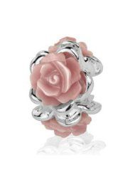 Sterling Silver Blossom Bead Charm with 3 Natural Pink Mother of Pearl Roses - $26.20 www.jewelryandwatches.co.za