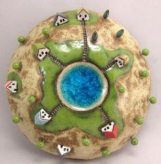 Moss Land...3D Wall Globe in Stoneware