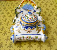 French Faience Rococo Revival Inkwell._Judith Walker's Collection