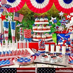 Patriotic 4th of July BBQ table spread.