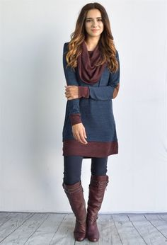 A Super soft USA made sweater color block layered tunic (preferably peeking out from bottom).  Full fabric cowl neck detail with trendy long body, this is perfect match for your leggings and riding boots.   Matching sleeve and suede elbow patch add some fun to this unique sweater.   The look is a little bit cozy, a little bit cute, and completely on-trend.