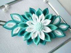 Handmade kanzashi flower french barrette. The handmade Kanzashi flower made of grosgrain ribbon is apprx.10x5 cm.(4 x 2) ,with glass beads