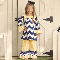 Lolly Wolly Doodle Navy Chevron Yellow Medallion Ruffle Pant Set 8/20