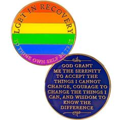 Doing It Sober - NEW! LGBT Recovery Medallion Rainbow.