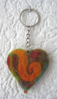 felt heart key chain by Hermine Koster