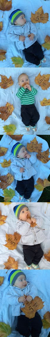 Fall baby shoot 5 months old five month month day photo shoot leaves babies best outdoors outside autumn birthday picture infant easy diy photography