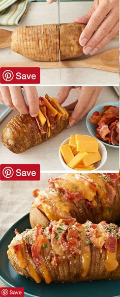 Cheesy Bacon Hasselback Potatoes Hasselback potatoes always look great on a plate. This cheesy version made with bacon cheddar and fresh chives is sure to be a new favorite. #delicious #diy #Easy #food #love #recipe #recipes #tutorial #yummy @ICookUEat - Make sure to follow @ICookUEat cause we post alot of food recipes and DIY we post Food and drinks gifts animals and pets and sometimes art and of course Diy and crafts films music garden hair and beauty and make up health and fitness and…