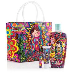 """Three Avon favorites all dressed up in a holiday print plusFREEtote bag! Acclaimed for her artistic interpretation of Our Lady of Guadalupe, Mexican artist Amparin created this design just for Avon.  All 4 for $15.99OVER $25 VALUE! Fun messages on the bag translate to:""""Our Lady of Guadalupe, be a honey, take care of me and all my money.""""""""Dear Guardian Angel and best of friends, watch over this lady whose work never ends."""""""