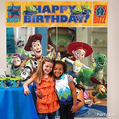 Create an instant photo backdrop with a Toy Story Scene Setter that's great for photo opportunities! See more cute Toy Story party ideas by clicking the picture.