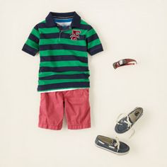 boys summer outfit complete with chino shorts, a cool polo, boat shoes, and sunglasses #tcp
