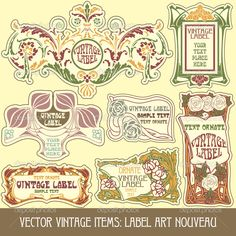 Label art nouveau - Stock Illustration: 7213618