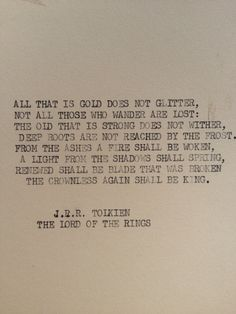 """Lord of the Rings"" J.R.R. Tolkien typewriter quote on 5 x 7 cardstock from Etsy"