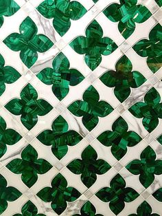 Artistic Tile is a family run business that offers full service custom capabilities. Cut with water jet precision, this beautiful mosaic features malachite, marble and mother of pearl. industry Going Green at the AD Design Show and Dining by Design Floor Patterns, Tile Patterns, Textures Patterns, Marble Mosaic, Mosaic Tiles, Tiling, Artistic Tile, Go Green, Green Bar