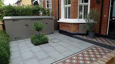 Victorian mosaic tile path yellow brick front garden wall granite paving bin bike store metal rail Yorkstone paving Archives - London Garden Blog