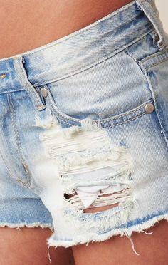 MINK PINK Trailer Park Slashed Hipster Shorts