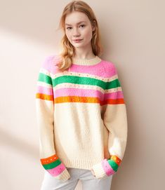 In rainbow cookie-inspired hues, this supersoft boucle style is our favorite wardrobe treat. Fashion 2018, Womens Fashion, Fashion Hats, Sweater Shop, Cool Sweaters, Elsa, Winter Fashion, Rainbow Cookie, Clothes For Women