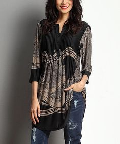 Another great find on #zulily! Black & Taupe Cloud Notch Neck Tunic by Reborn Collection #zulilyfinds
