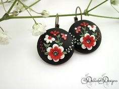 While Your Lips are Still Red Floral Earrings by DellineDesigns
