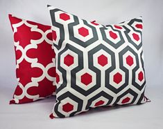 One Throw Pillow Cover Deep Red and Beige by CastawayCoveDecor