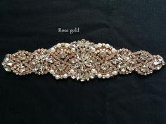 Gold Bridal Crystal Sash. Rose Gold Rhinestone Pearl by IngenueB
