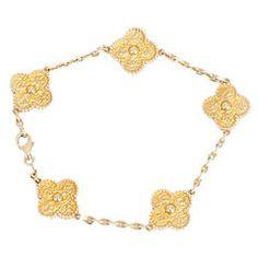 Van Cleef and Arpels 5 Motif Gold Alhambra Bracelet