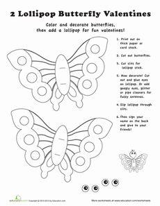 Valentine Lollipop Craft Worksheet