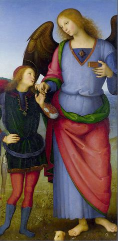 Pietro Perugino (1446-152310 : Archangel Raphael with Tobias (detail of Polytych of Certosa Di Pavia, 1499. National Gallery, London. Oil on panel.