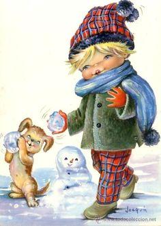 NIÑO CON PERRITO Y BOLAS NIEVE - ILUSTRADOR: JOAQUIN - CYZ 6635 -AÑO 1965 (Postales - Dibujos y Caricaturas)
