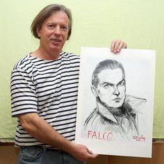 Gazmend Freitag with his portrait of FALCO