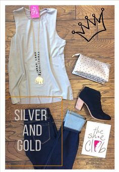 Step out in colors of precious metal!  💍 Ostrich XBody Wristlet (Silver) $40 Elephant Necklace (Black) $32 Lizard Print Top (Grey) $65 Blank NYC Spray On Personal Life Denim $78  Toms Lunata (Black Suede) $119 ☎️(210) 824-9988