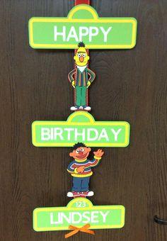 Bert and Ernie Sesame Street Birthday Sign Elmo Birthday, Baby 1st Birthday, 1st Birthday Parties, Happy Birthday, Birthday Ideas, Sesame Street Party, Sesame Street Birthday, Bert & Ernie, Elmo Party
