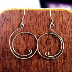 Wire Earrings, Silver Swan Hoop