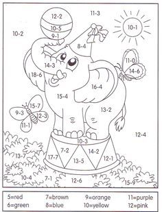 Learn math with coloring Math Classroom, Kindergarten Math, Teaching Math, Coloring Books, Coloring Pages, School Worksheets, 1st Grade Math, Homeschool Math, Math For Kids